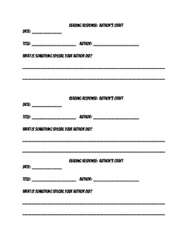 Noticing Author's Craft -Quick Reader's Response Notebook Strip