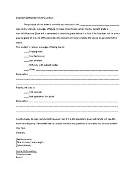 Notification of Failing Student - Letter to Parent - Easy and Editable