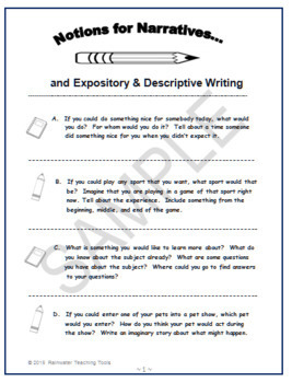 Notions for Narratives - 14 Journal Writing Prompts
