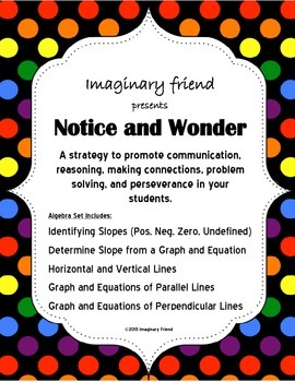Notice and Wonder Activites for Algebra: Slope, Graphs, Equations of Lines.