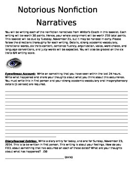 Notorious Nonfiction Writing Packet-Common Core