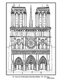 Notre Dame Cathedral.  Coloring page and lesson plan ideas