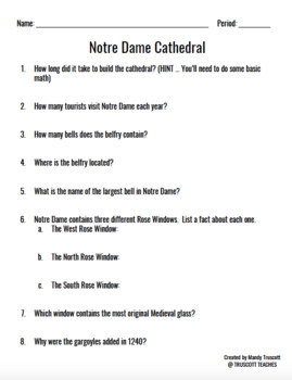 Notre Dame Cathedral ... Passage & Questions