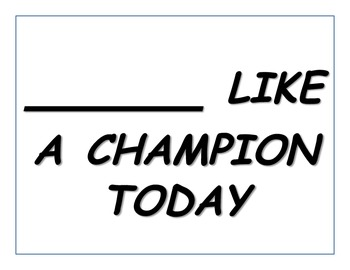 "Notre Dame ""______________ Like a Champion Today"" Activity"