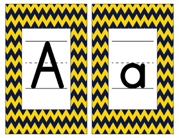 Notre Dame Inspired Gold & Blue Alphabet & Number Cards for Word Walls-Editable