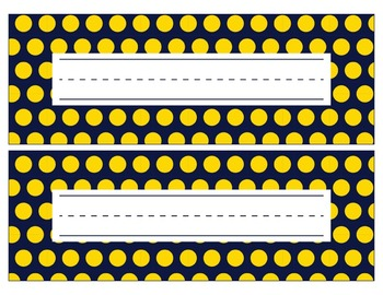 Notre Dame Irish Inspired Blue and Gold Editable Name Plates/Word Wall