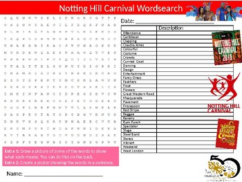 Notting Hill Carnival Wordsearch Sheet Starter Activity Keywords Festival London