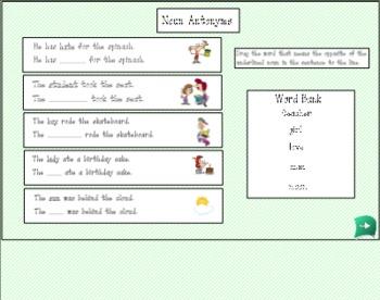 Noun Activity Set for Smart Board
