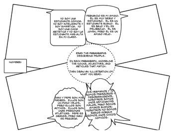 Spanish Noun Adjective Agreement Cartoon Activities