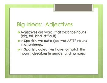 Spanish Noun Adjective Agreement Notes