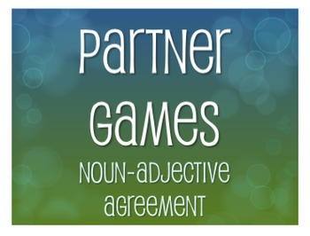 Spanish Noun Adjective Agreement Partner Games