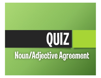 Spanish Noun Adjective Agreement Quiz