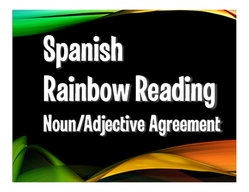 Spanish Noun Adjective Agreement Rainbow Reading
