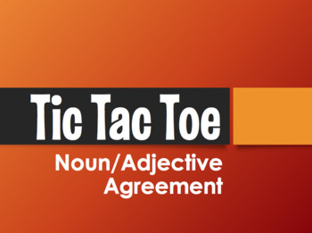 Spanish Noun Adjective Agreement Tic Tac Toe Partner Game