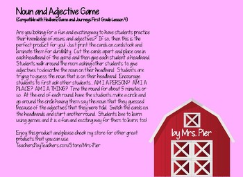 Noun & Adjective Game (Compatible w/ Hedbanz Game & Journeys 1st Grade Lesson 4)