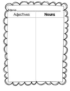 Noun Adjective Sort