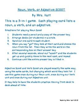 Noun, Adjective, or Verb SCOOT game