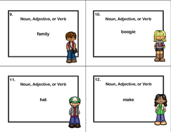 Noun, Adjective, or Verb Task Cards Grades 2-3