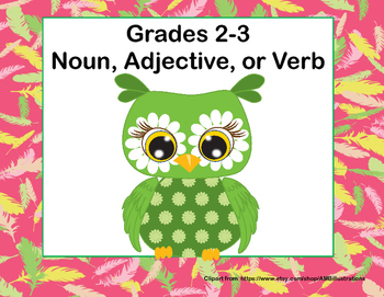 Noun, Adjective, or Verb Task Cards Grades 2-3  Owl Theme