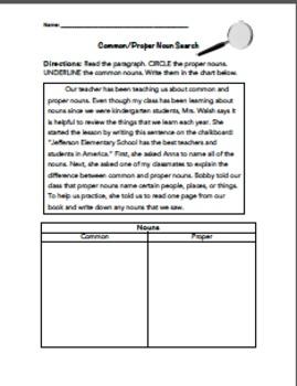 Noun Bundle- Pre/Post Assessment, Common/Proper Find & Sort, Write a Noun Story