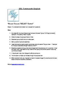 Noun Clause Relay Practice Game