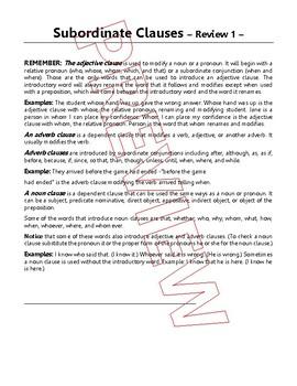 Noun Clauses & Subordinate Clause Reviews   4 Grammar Lessons   Gr 7 - 8 ELA