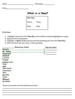 Noun Color-Coding Activity and Note Sheet