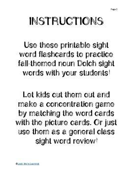 Noun Sight Word Flashcards - Fall Nouns!