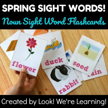 Noun Dolch Sight Word Flashcards - Spring Themed!