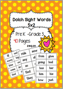 Dolch Sight Words-PreK to G3 -little cards-2x5