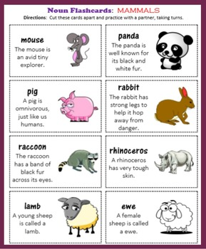 Noun Flashcards:  Mammals