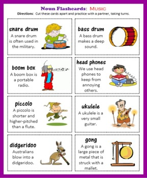 Noun Flashcards:  Music