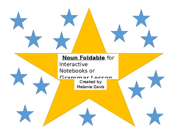 Noun Foldable for Interactive Notebooks and/or  Grammar Lesson