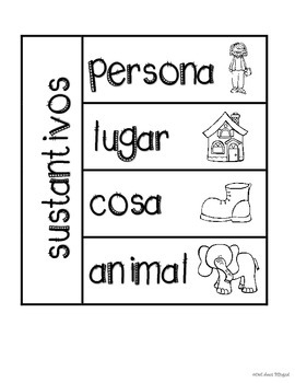 Noun Foldables in English and Spanish