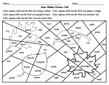 Noun Hidden Picture - Fall