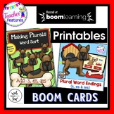 BOOM CARDS ELA | GRAMMAR ACTIVITIES | Ending Rules plus Plural Nouns Word Sort