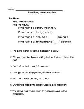 Noun Identification Practice