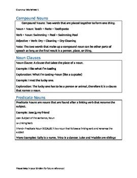 Noun Information Sheet