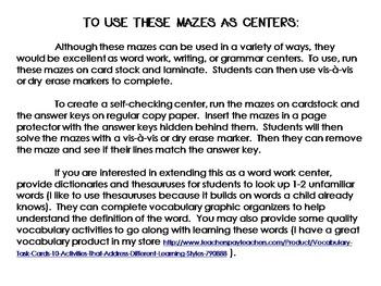 Noun Mazes:  Making Grammar Fun