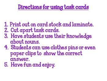 Noun Non-Sense Solve & Clip Task Cards FREEBIE