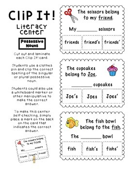 Noun Pack- Common, Proper and Possessive Nouns- Centers and Posters