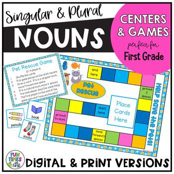 """Noun """"Pet Rescue!"""" {Centers for Singular & Plural Nouns}"""