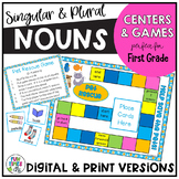 Singular and Plural Nouns:  Games and Centers (Pet Themed)