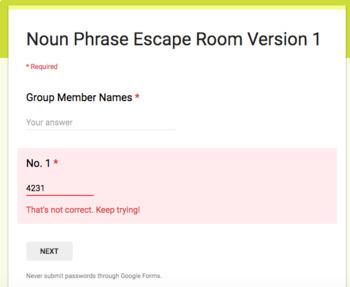 Noun Functions Escape Room