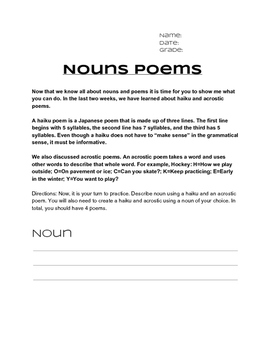 Noun Poems Project