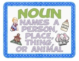 Noun Posters, Song, Sorting Cards, and Worksheet