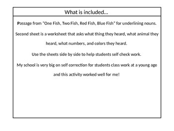 """Noun Practice Using """"One Fish, Two Fish, Red Fish, Blue Fish"""""""