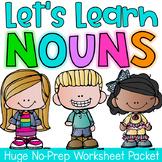 Nouns Printable Worksheet Pack - Kindergarten First Second Grade