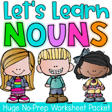 Nouns Printable Worksheet Pack - Kindergarten First Second Grade