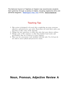 Noun, Pronoun, Adjective Review